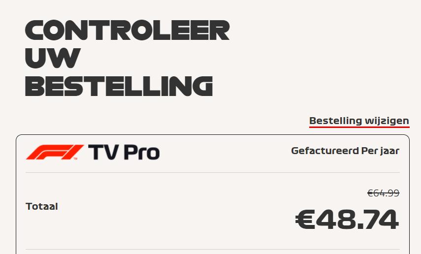 F1 TV Pro korting